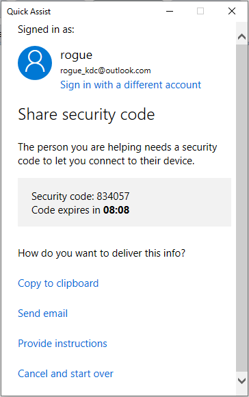 Impersonating Microsoft Support using Quick Assist
